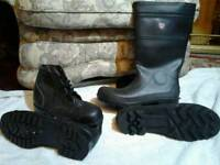1pr or mens work weiilngtons and 1 pr leather work boots