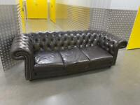Dark brown Chesterfield leather sofa, Free delivery