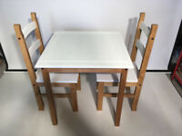 Dining Set 2 Seater Chairs Table Solid Pine Wood, Chalk White