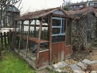 Wooden framed greenhouse, complete with glass and staging - buyer dismantles