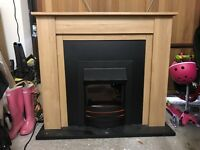 Oak effect electric fireplace in excellent condition