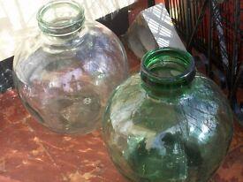 VINTAGE GLASS BOTTLES/TERRARIUMS - Pair
