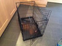Dog puppy crate cage metal tray black