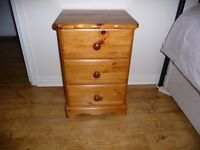 Sturdy Solid Wood 3 Drawer Storage Chest - Antique Pine. Durable Lacquer. In Excellent Condition.