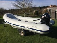 4.2 mtr Mercury rib with 20hp Mercury outboard and trailer - rib and outboard August 2015