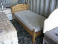 QUALITY SOLID PINE ORNATE SINGLE BED WITH QUALITY TIDY MATTRESS. DISMANTLES. VIEWING/DELIVERY POSS