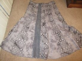 PER UNA SKIRT BOHO HIPPY STEAMPUNK PANELLED SHADES OF GREY FULLY LINED SIZE 16