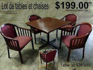 VENTE DE LOT DE TABLES ET CHAISES