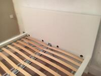White Ikea king size bed with mattress