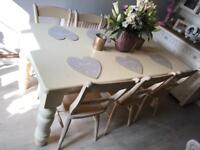 Shabby chic solid 6ft farmhouse dining table and 6 chairs