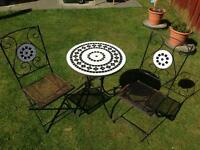 Bistro table & chairs, mosaic tiles, metal table & chairs (upcycle / restoration)