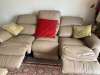 DFS Cream Leather Recliner Sofas and Footstool