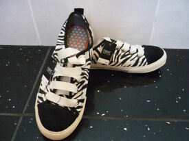 Next - Size 4 - Flat Shoes - Animal Print - Black and White - BRAND NEW