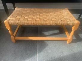 Mid century woven wooden footstool / seat