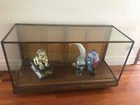 Amazing glass top solid oak wood shop display cabinet, antique, vintage