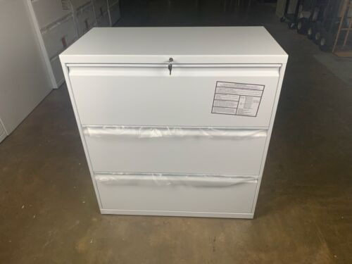"""HON 30"""" 3 Drawer Lateral Filing Cabinet, White"""
