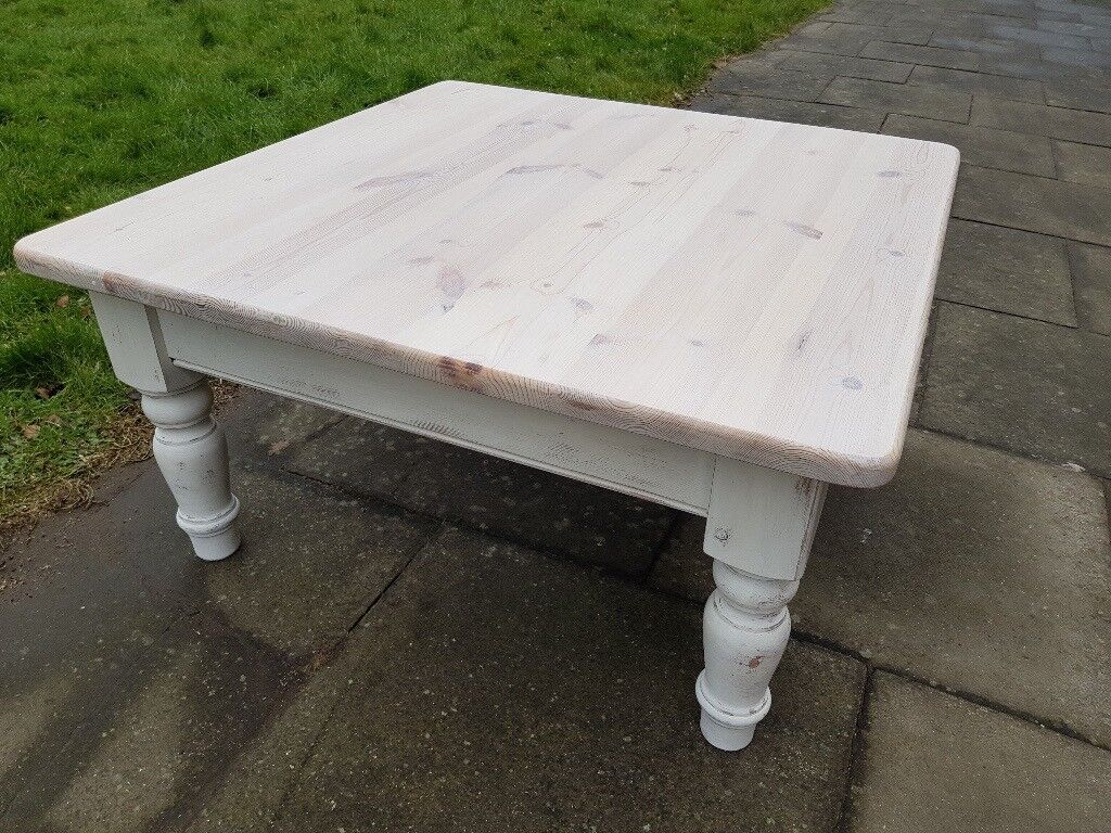 Large Square Rustic Pine Farmhouse Coffee Table White Shabby Chic Local Delivery In Hammersmith London Gumtree