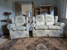 Two seater wing back settee and armchair