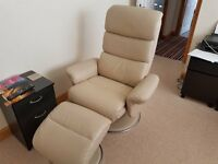 Leather full reclining swivel armchair with footstool. Only 1 year old.