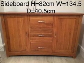 Solid Oak furniture. Sideboard/TV Corner Unit/ nest of tables / bookcase