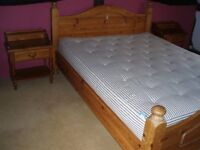 PINE KINGSIZE BED WITH MATRESS AND SIDE TABLES WITH DRAWER