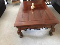 Beautiful solid mahogany and wrought iron coffee table