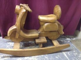 CHILDS WOODEN ROCKING SCOOTER VESPA LAMBRETTA ROCKING HORSE
