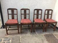 Set of 4x antique oak dining chairs arts crafts 1920s