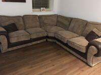 Corner chief affect brown sofa, separates into three sections for transport excellent condition