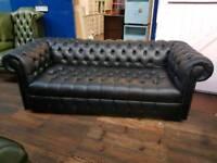 Chesterfield Full Button Black 3 Seater Sofa