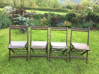 Antique Vintage Folding Oak & Pine Chairs, Set of 4