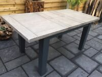 Solid Oak Extending Dining Table, Slate Grey Legs, New / Boxed
