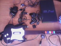 Playstation 2 PS2 bundle - Console, games, guitar, controller, memory card.