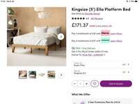Wayfair Ella - King Size Rustic Pine Platform Bed Frame - Boxed