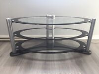 Glass tv Stand black and silver