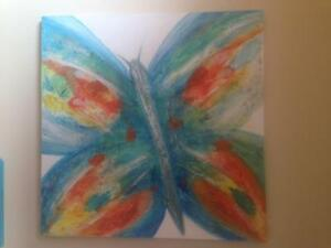 Butterfly textured canvas painting
