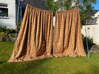 luxury terracotta black gold long cotton curtains 90 x 78 inch VGC lined & interlined