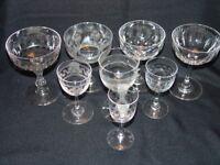 Antique Glasses - 4 x Champagne Glasses and 4 x Sherry Glasses