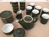 Apilco 'bistroware' French green & gold trim coffee/tea pieces of a set, 26 in total