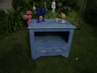 Chinese side table/cupboard with drawer under Painted Ink Blue and white waxed.