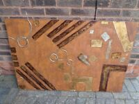 Large gold / burnt orange hand painted wall canvas