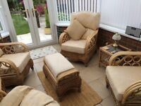 Conservatory furniture, 4 chairs 2 small tables-and 1 stool. V good condition £80.00