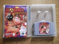Worms Armageddon - Nintendo 64 artillery strategy game with instructions & storage display box