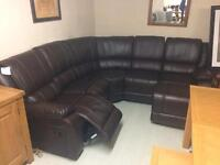 Real leather new reclining corner sofa this week only