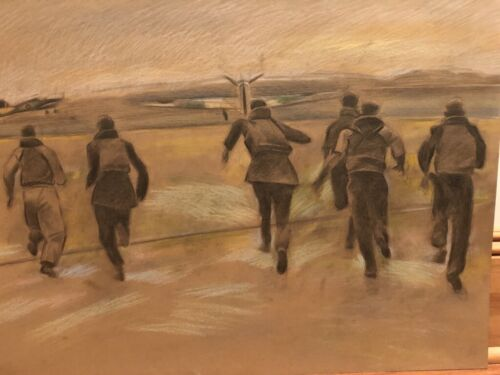 Pilots Running to Their Planes-M/M Chalk & Pencil Drawing-70s- Israel L.Winarsky