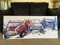3 Mini Coopers in Italian Job Painted Canvas, British, London, Car Painting