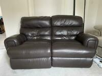 Chocolate Brown Electronic Reclining Leather Sofa