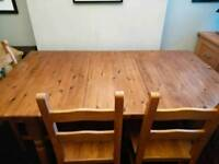 Pine dining table and 6 solid beech chairs