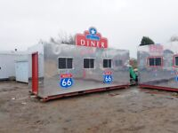 Stunning American diner converted from 20ft shipping container