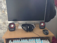 home work setup with 24 inch monitor and sick keyboard URGENT